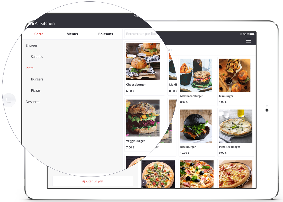 Create your products and your menus quickly with AirKitchen