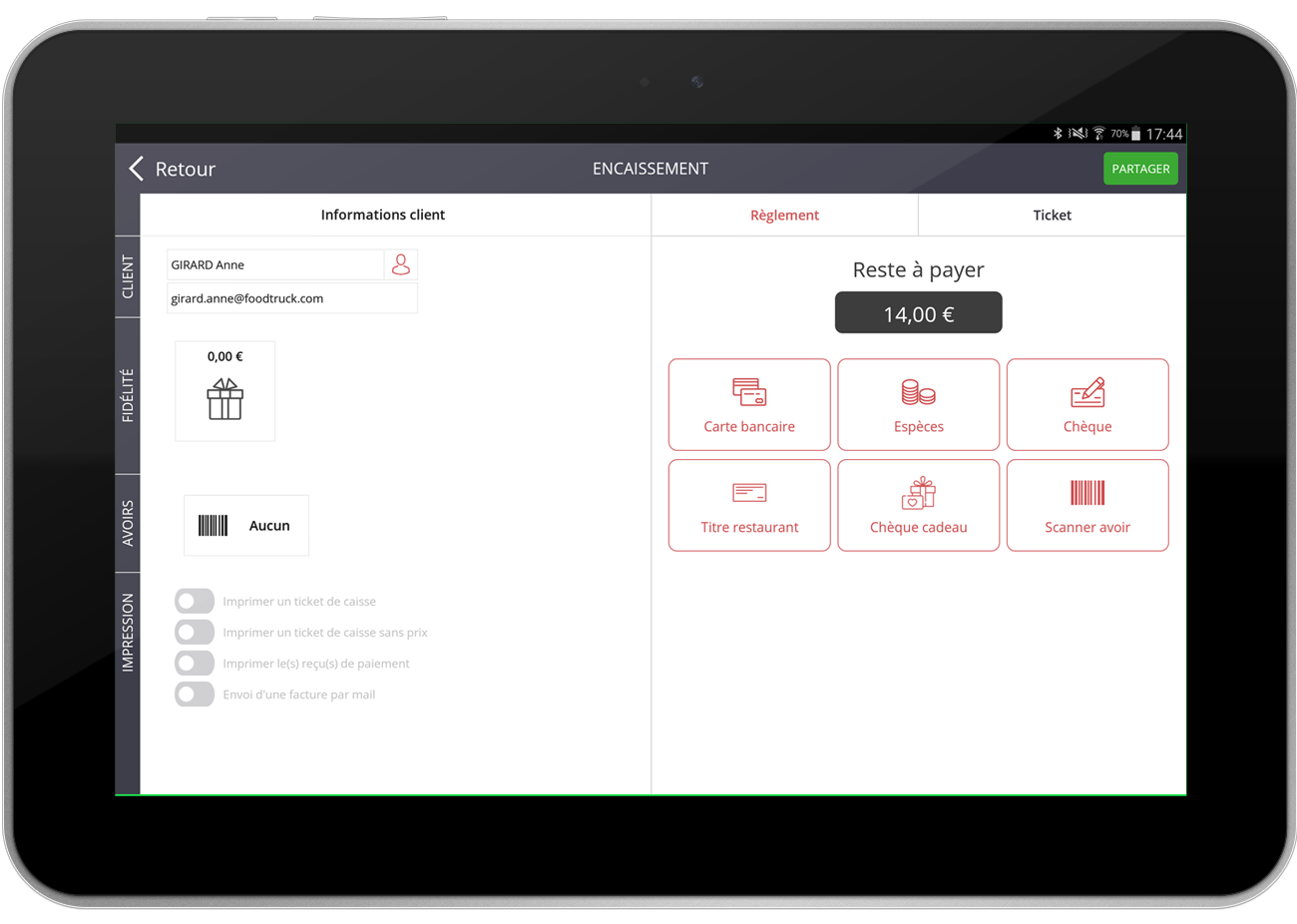 Manage payments on tablet